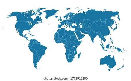 detailed silhouette of World political map with state borders and main islands, lakes