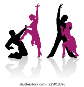 Detailed silhouettes of couple dancing ballroom dance