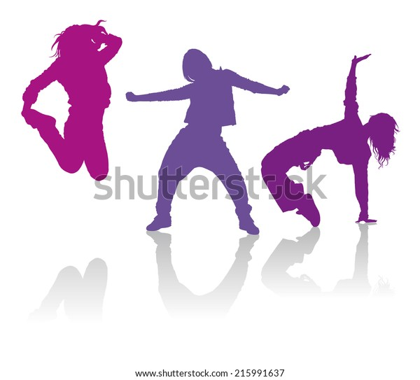 Detailed Silhouettes Girls Dancing Hiphop Dance Stock Vector Royalty Free 215991637