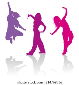 Detailed silhouettes of girls dancing jazz funk dance
