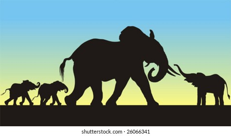 Detailed silhouettes of a mother and three young african elephants. Full editable figures with feet included.