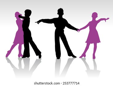 Detailed silhouettes of young ballroom dancers
