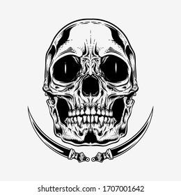detailed skull head illustration with sword - vector