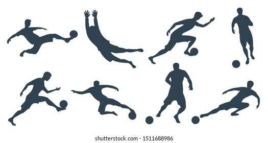 Detailed soccer football players silhouette cutout outlines. Goalkeeper, forward. Vector illustration.