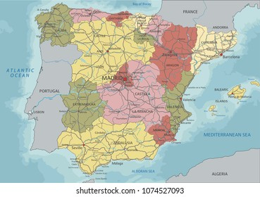 Detailed Spain political map.