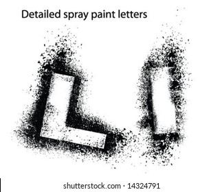 detailed spray paint font ll