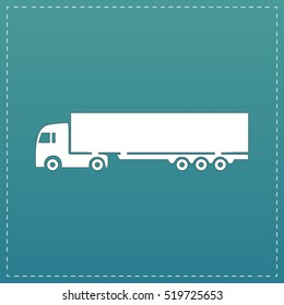 Detailed trucks silhouettes. White flat icon with black stroke on blue background