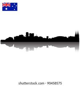 Detailed vector Adelaide silhouette skyline with Australian Flag