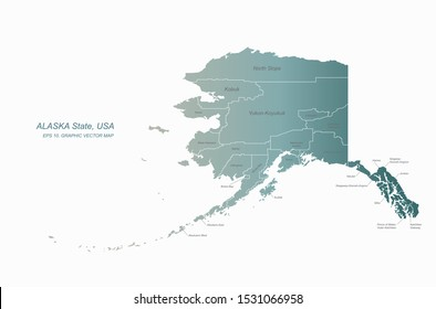 detailed vector of alaska map. united state map.