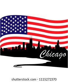 Detailed vector Chicago silhouette skyline with USA flag
