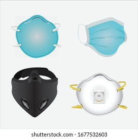 Detailed Vector Collection of Masks including Safety, Industrial, N95, Smoke and Dust Protection, Respirator and Breathing Masks.