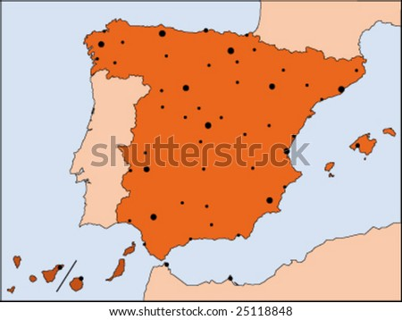 Map Of Spain To Color.Detailed Vector Color Map Spain Stock Vector Royalty Free 25118848
