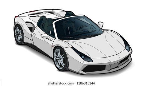 Detailed vector draw of a flat sport car with black stroke option for custom able color for kids drawing book.