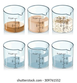 Detailed Vector drawing of / Measuring Cup Ingredients / Each object is isolated in groups and easy to edit layers, easy to edit ingredient amounts in cups. Gradients transparencies & swatches used