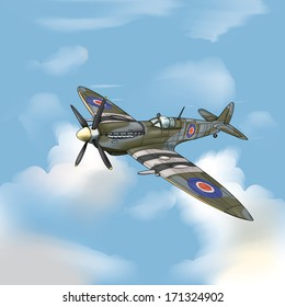 Detailed Vector Drawing of a supermarine spitfire WW2 Fighter plane/Spitfire/ Easy to edit layers and groups meshes and gradients used.