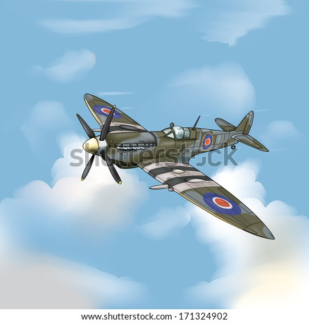 Detailed Vector Drawing Supermarine Spitfire Ww 2 Stock Vector