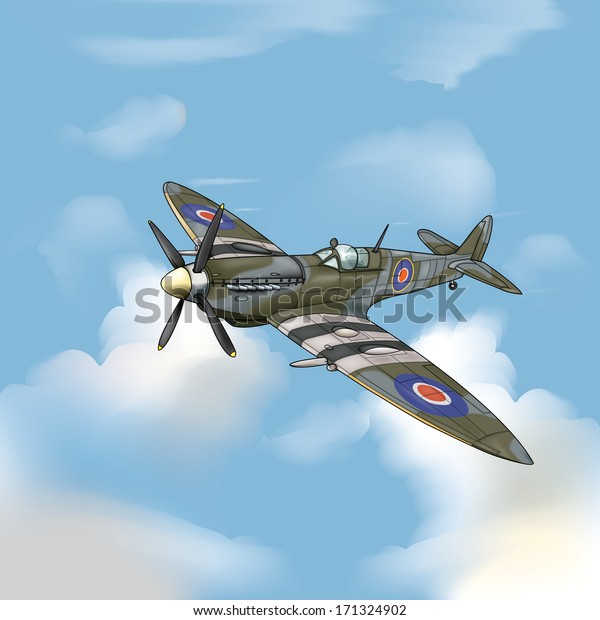 Detailed Vector Drawing Supermarine Spitfire Ww2 Stock