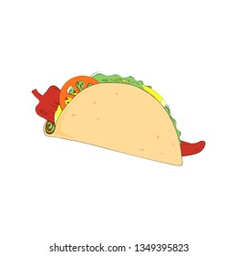 Detailed vector drawing of a taco isolated