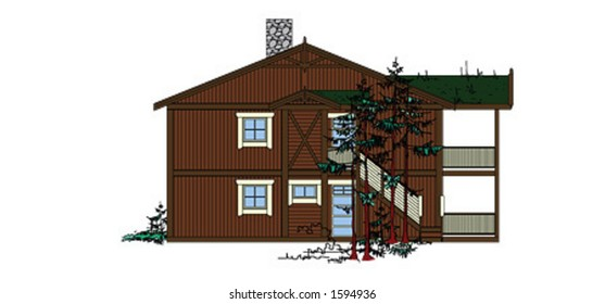 Detailed vector drawing of traditional style wooden house with grass roof. Very detailed. Side view.