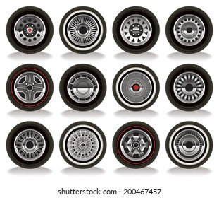 Detailed vector drawing of a variety of retro wheels.