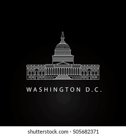 Detailed Vector Icon of Capitol, Washington, United States. USA symbol in outline style.