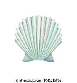Detailed vector icon of scallop shell. Ocean mollusk. Object of underwater world. Colorful seashell. Marine theme. Graphic design for greeting card or poster.