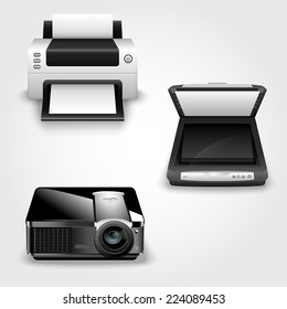 Detailed vector illustration of abstract office equipment - printer, scanner and projector