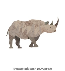 Detailed vector illustration of an adult rhinoceros in a profile view. African animal wildlife.