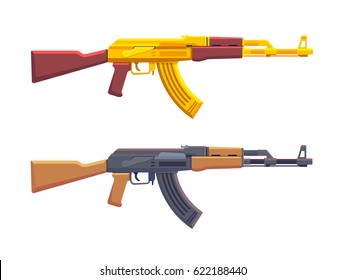 Detailed vector illustration of a AK-47 assault rifle. Standard & Golden Version