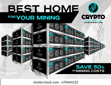 Detailed Vector Illustration of Bitcoin Mining Farm in Perspective. Racks of Mining Machines at Server Farm. Banner for Cryptocurrency Market, Blog, Article, Advertising. Bitcoin, Ethereum, Litecoin.