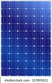 Detailed vector illustration of blue silicon photovoltaic electric solar panel texture