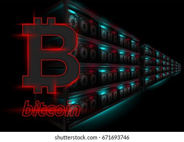 Detailed Vector Illustration of Datacenter in Dark Room. Racks of Glowing Computers in Perspective. Bitcoin Mining Farm. Banner for Cryptocurrency Market, Hosting Company. Bitcoin Logo.