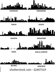 detailed vector illustration of different asian cities