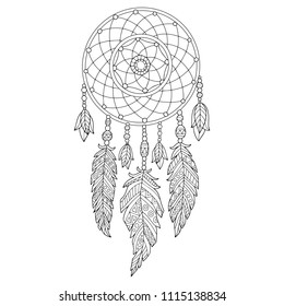 Detailed vector illustration of the dreamcatcher, isolated in white. Perfect for coloring book, page for adults and children or for a tattoo design.