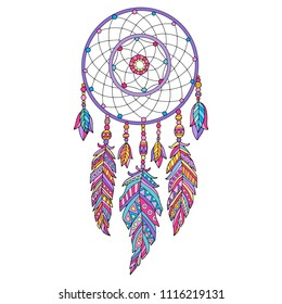 Detailed vector illustration of the dreamcatcher, isolated in white.