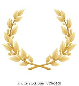 Detailed vector illustration of a gold laurel wreath award. Represents a victory, achievement, honor, quality product, or success. Ornate leaf sections. Isolated on a white background.