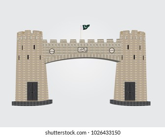 "Detailed vector illustration of Khyber Pass Peshawar Pakistan with a Pakistani flag on top , Text written in Urdu font is ""Bab-e-Khyber"" means ""The door of Khyber"""