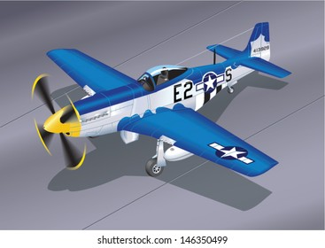 Detailed Vector Illustration of P-51 Mustang 'Easy 2 Sugar' Fighter Plane