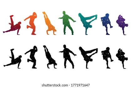 Detailed vector illustration silhouettes of expressive dance colorful group of people dancing. Jazz funk, hip-hop, house. Dancer man jumping on white background. Happy celebration brakedance b boy