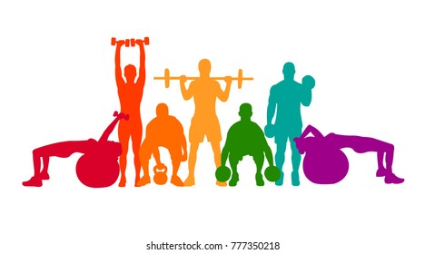 Detailed vector illustration silhouettes  strong rolling people set girl and man sport fitness gym body-building workout powerlifting health training dumbbells barbell. Healthy lifestyle. Crossfit
