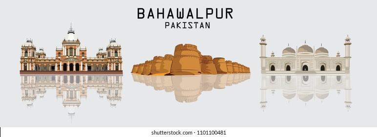 Detailed vector / illustration of skyline of Bahawalpur Pakistan including Noor Mahal , Derawar Fort and Mosque