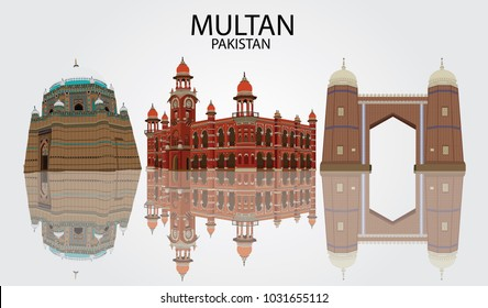Detailed vector illustration of Skyline of Multan Pakistan in white background with reflection, showing Tomb of Shah Rukn-e-Alam , Ghanta Ghar and Bab-e-Qasim Multan fort.