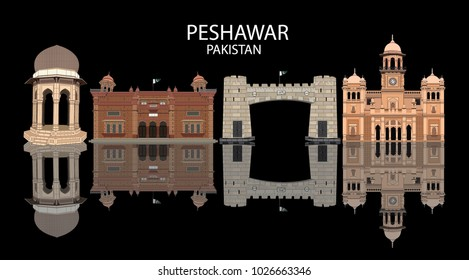 Detailed vector illustration of Skyline of Peshawar Pakistan in black background with reflection, showing Khyber Pass , Islamia College , Peshawar Museum and Yadgar Chowk