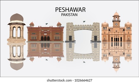 Detailed vector illustration of Skyline of Peshawar Pakistan in white background with reflection, showing Khyber Pass , Islamia College , Peshawar Museum and Yadgar Chowk