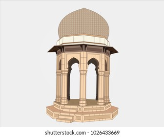 Detailed vector illustration of Yadgar Chowk Peshawar Pakistan