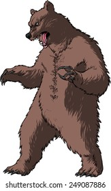 Detailed vector image of an adult black/blown/grizzly bear, standing on his hind legs/paws, in a threatening pose, his mouth open in a roar.