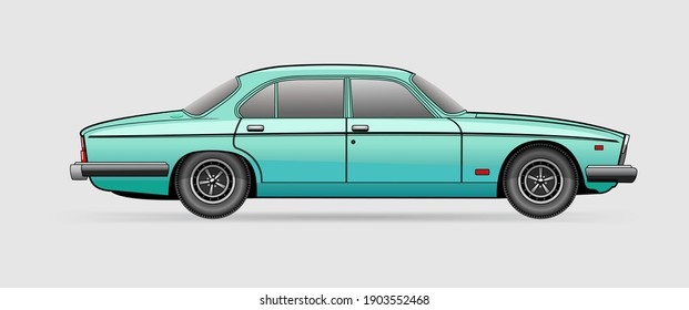 Detailed vector image of turquoise car isolated on white background