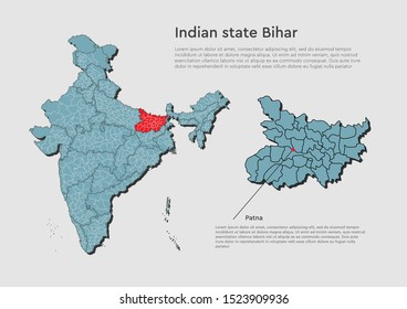Detailed vector India country outline border map isolated on background. Bihar state, region, area, province, territory, department for your report, infographic, backdrop, business concept.