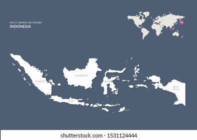 detailed vector of indonesia map. south east asia countries map.