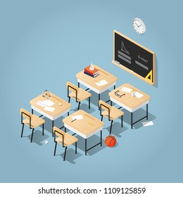 Detailed vector isometric illustration of  classroom. School desks with books, papers and stationery on it in a classroom with a blackboard clocks on a wall. Read up for exams in a classroom concept.